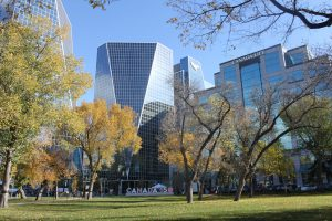 View of 2 of the Hill towers from Victoria Park-Downtown neighborhood-Regina Real Estate Shop